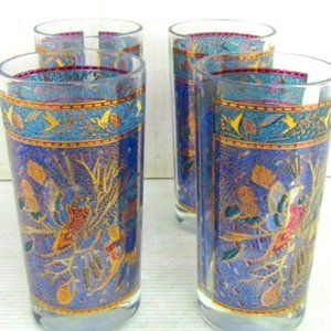 Mid Century Gold  Blue Pheasant Barware Glass Set